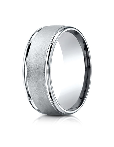 Benchmark 14K White Gold 8mm Comfort-Fit Wire Brush Finish with Round Edge Carved Design Wedding Band