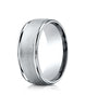 Benchmark-14K-White-Gold-8mm-Comfort-Fit-Wire-Brush-Finish-High-Polished-Round-Edge-Band--Size-4--RECF780214KW04