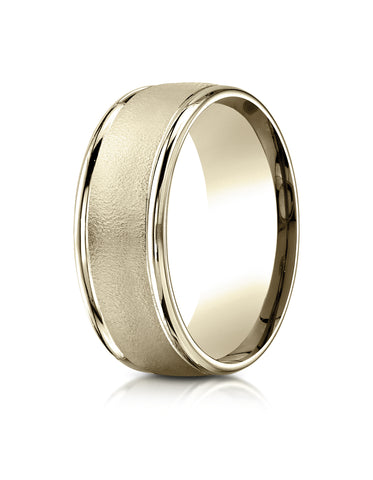Benchmark 14K Yellow Gold 8mm Comfort-Fit Wire Brush Finish with Round Edge Carved Design Wedding Band