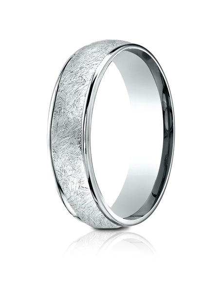 Benchmark 18K White Gold 6.5mm Comfort-Fit Round Edge Swirl Finish Design Band, (Size 4-14)
