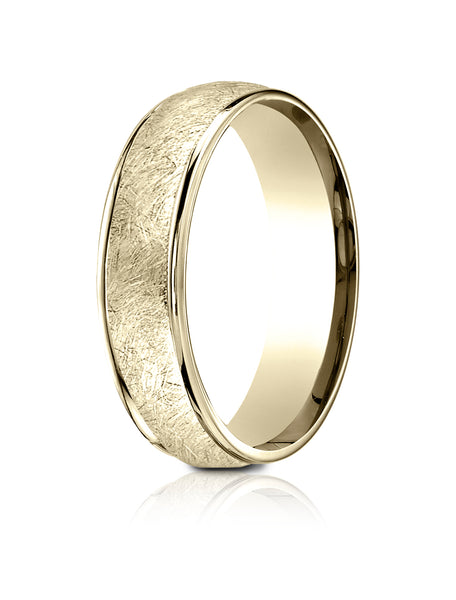 Benchmark 18K Yellow Gold 6.5mm Comfort-Fit Round Edge Swirl Finish Design Band, (Size 4-14)
