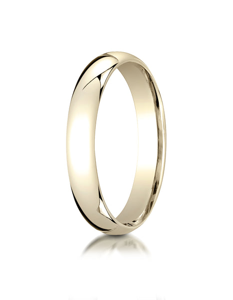 Benchmark 14K Yellow Gold 4mm Slightly Domed Super Light Comfort-Fit Wedding Band Ring (Sizes 4 - 15 )