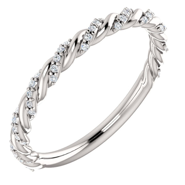 14k White Gold 1/8 CTW Diamond Pavé Twisted Anniversary Band, Size 7