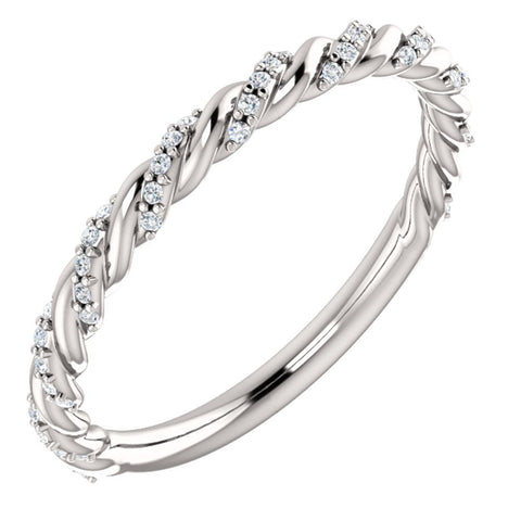 14k White Gold 1/8 ctw. Diamond Twisted Rope Band, Size 7