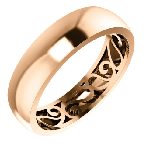 14k Rose Gold 6mm Paisley Design Band Size 8.5