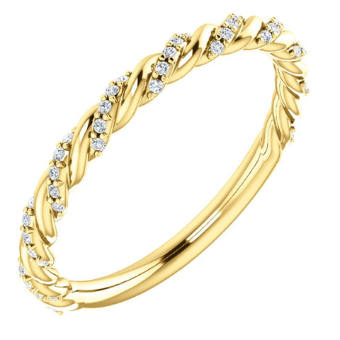 14k Yellow Gold 1/8 ctw. Diamond Twisted Rope Band, Size 7