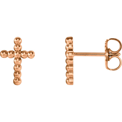 Beaded Cross Earrings in 14K Rose Gold