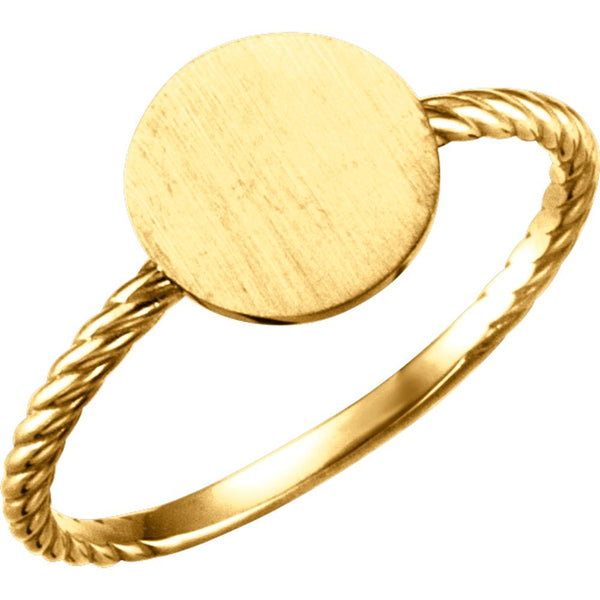 14k Yellow Gold Round Engravable Rope Ring, Size 7