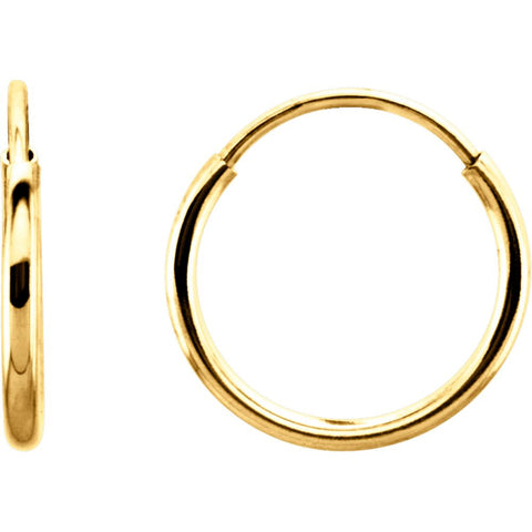 14k Yellow Gold 10mm Endless Hoop Earrings
