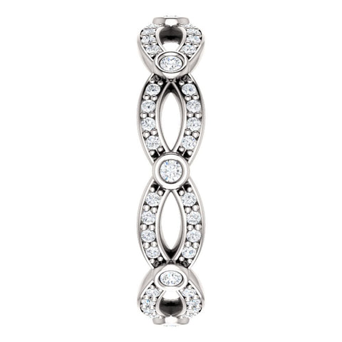 14k White Gold 3/8 CTW Diamond Eternity Band, Size 7