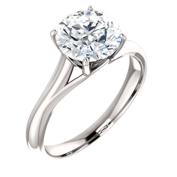 14k White Gold 8mm Round Forever Brilliant® Moissanite Solitaire Engagement Ring, Size 7