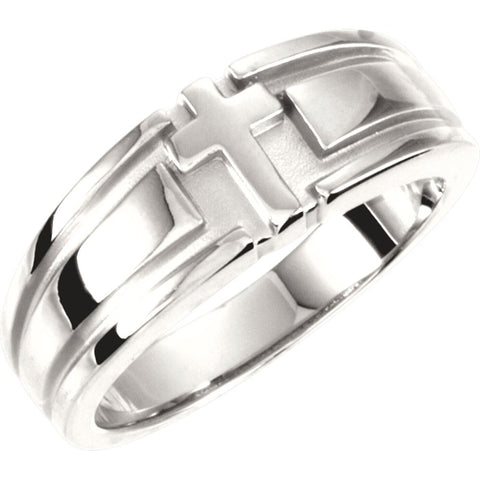 Religious Cross Duo Wedding Band Ring in Sterling Silver ( Size 10 )