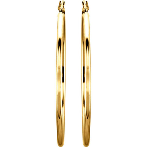 14k Yellow Gold 47mm Tube Hoop Earrings