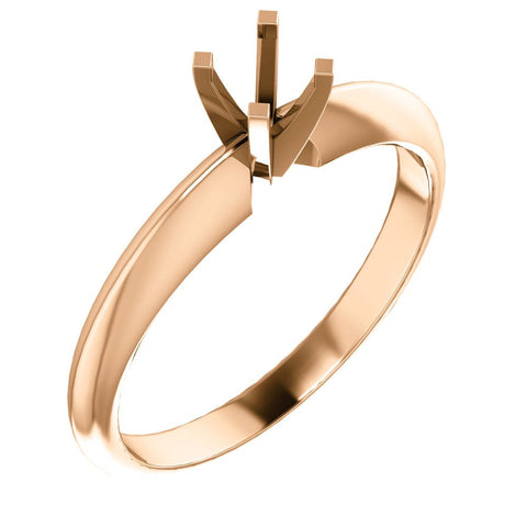 14k Rose Gold 4-4.1mm Round 4-Prong Light Solitaire Ring Mounting, Size 7
