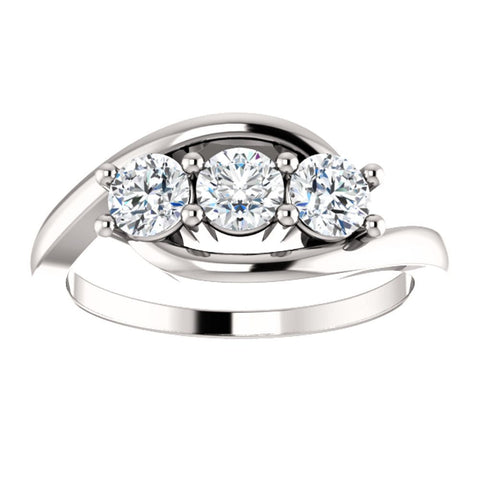 14k White Gold 3/4 CTW Diamond Anniversary Ring, Size 7