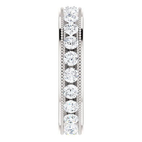 14k White Gold 1 3/8 CTW Diamond Milgrain Eternity Band Size 5