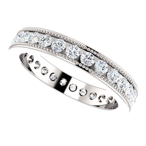 14k White Gold 7/8 CTW Diamond Milgrain Eternity Band Size 5