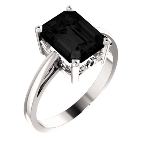 14K White Gold Onyx Ring (Size 6)