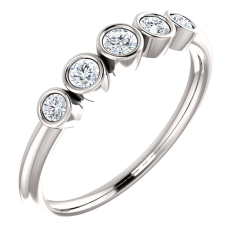 14k White Gold 1/4 CTW Diamond Graduated Bezel Set Ring, Size 7
