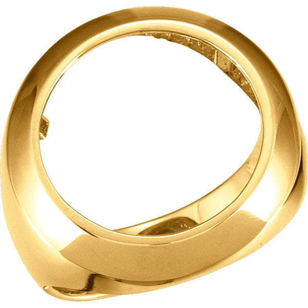 14k Yellow Gold Men's 16.5mm Coin Ring Mounting, Size 9.75