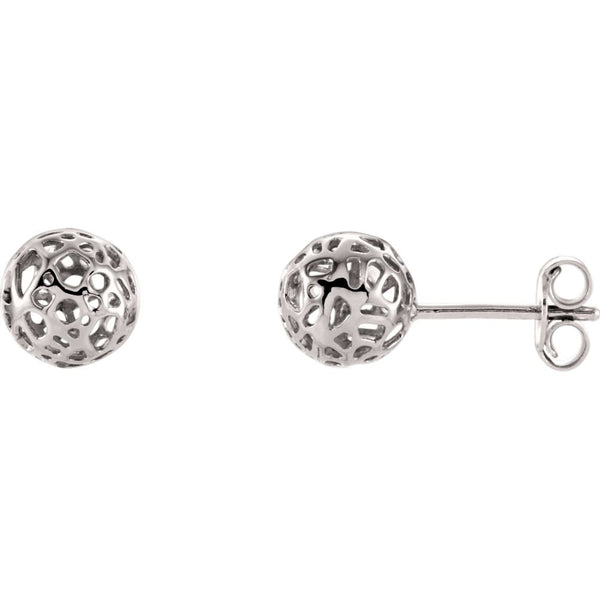 14k White Gold Ball Earrings