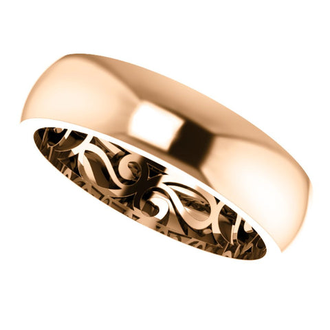 14k Rose Gold 6mm Paisley Design Band Size 10.5