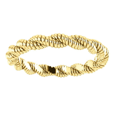 14k Yellow Gold Twisted Rope Band Size 6