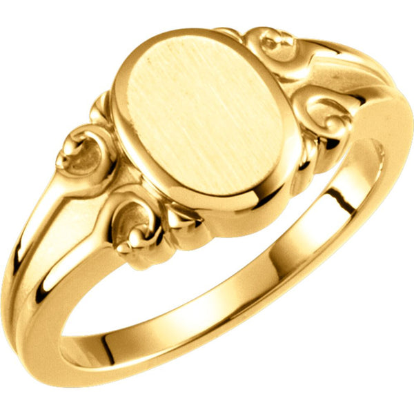 14k Yellow Gold Oval Signet Ring, Size 6
