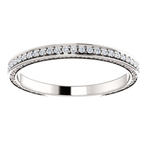 14k White Gold 1/5 CTW Diamond Anniversary Band, Size 7
