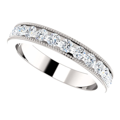 14k White Gold 7/8 CTW Diamond Anniversary Band , Size 7