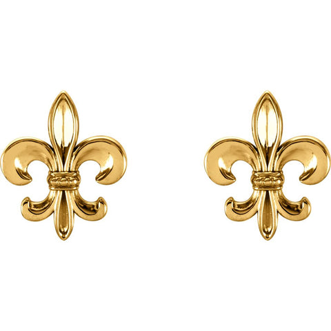 14k Yellow Gold Fleur-De-Lis Earrings