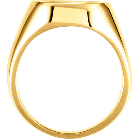 14k Yellow Gold 12mm Men's Signet Ring, Size 11