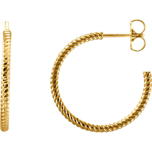 14k Yellow Gold 21mm Rope Design Hoop Earrings