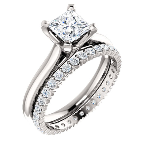 14k White Gold 6.5mm Square Engagement Ring Mounting, Size 7