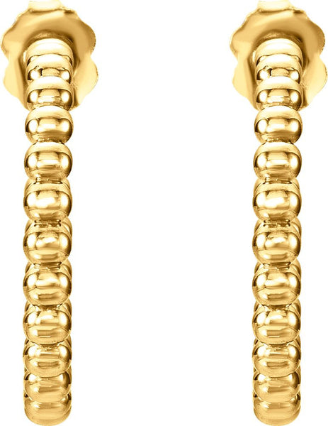 14k Yellow Gold 21mm Beaded Hoop Earrings