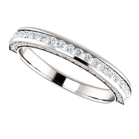 14k White Gold 1/3 CTW Round Diamond Anniversary Band, Size 7