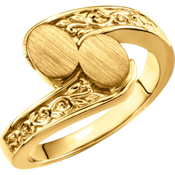 14k Yellow Gold Bypass Signet Ring, Size 6