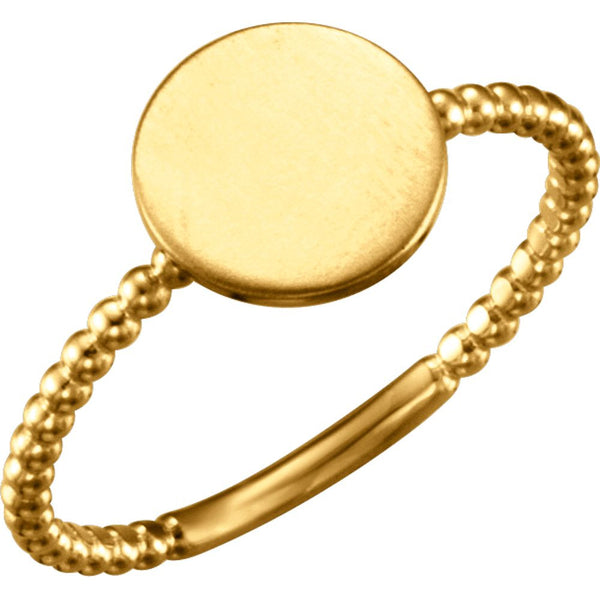 14k Yellow Gold Round Engravable Beaded Ring , Size 7