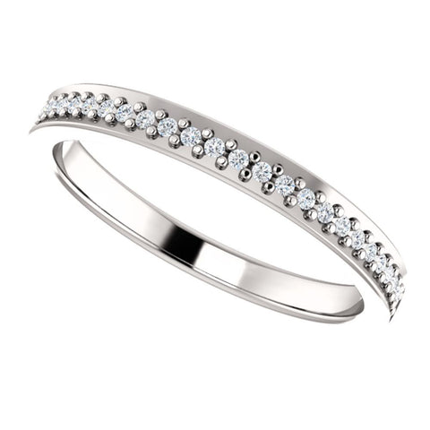 14k White Gold 1/8 CTW Diamond Anniversary Band , Size 7