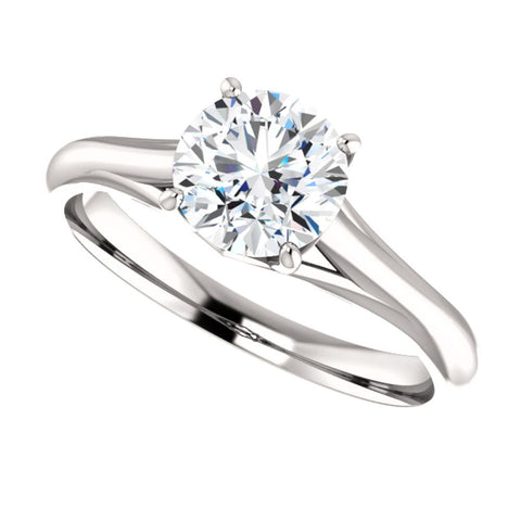 14k White Gold 6.5mm Round Forever Brilliant® Moissanite Solitaire Engagement Ring, Size 7