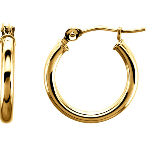 14k Yellow Gold 15mm Tube Hoop Earrings