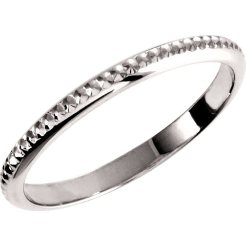14k White Gold 2mm Design Band Size 6