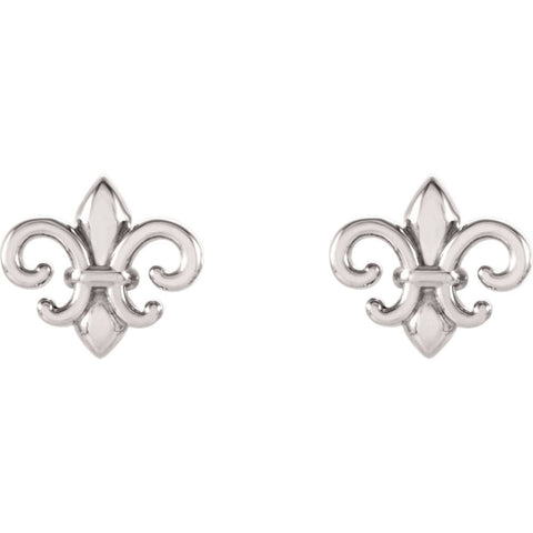 14k White Gold Fleur-De-Lis Earrings