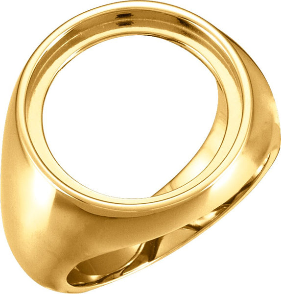 14k Yellow Gold 18mm Men's Coin Ring Mounting , Size 10