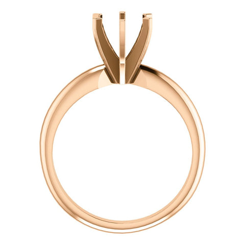 14k Rose Gold 6-6.6mm Round 6-Prong Solitaire Ring Mounting, Size 7