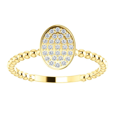 14k Yellow Gold 1/6 CTW Diamond Cluster Beaded Ring, Size 7