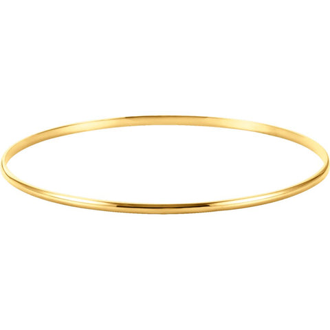 14k Yellow Gold 2mm Half Round Bangle Bracelet