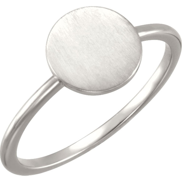 Continuum Sterling Silver Round Engravable Ring, Size 7