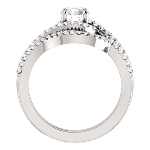 14k White Gold 5.8mm Round Accented Engagement Ring Mounting, Size 7