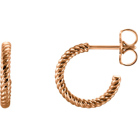 12mm Hoop Earrings With Rope Design in 14K Rose Gold